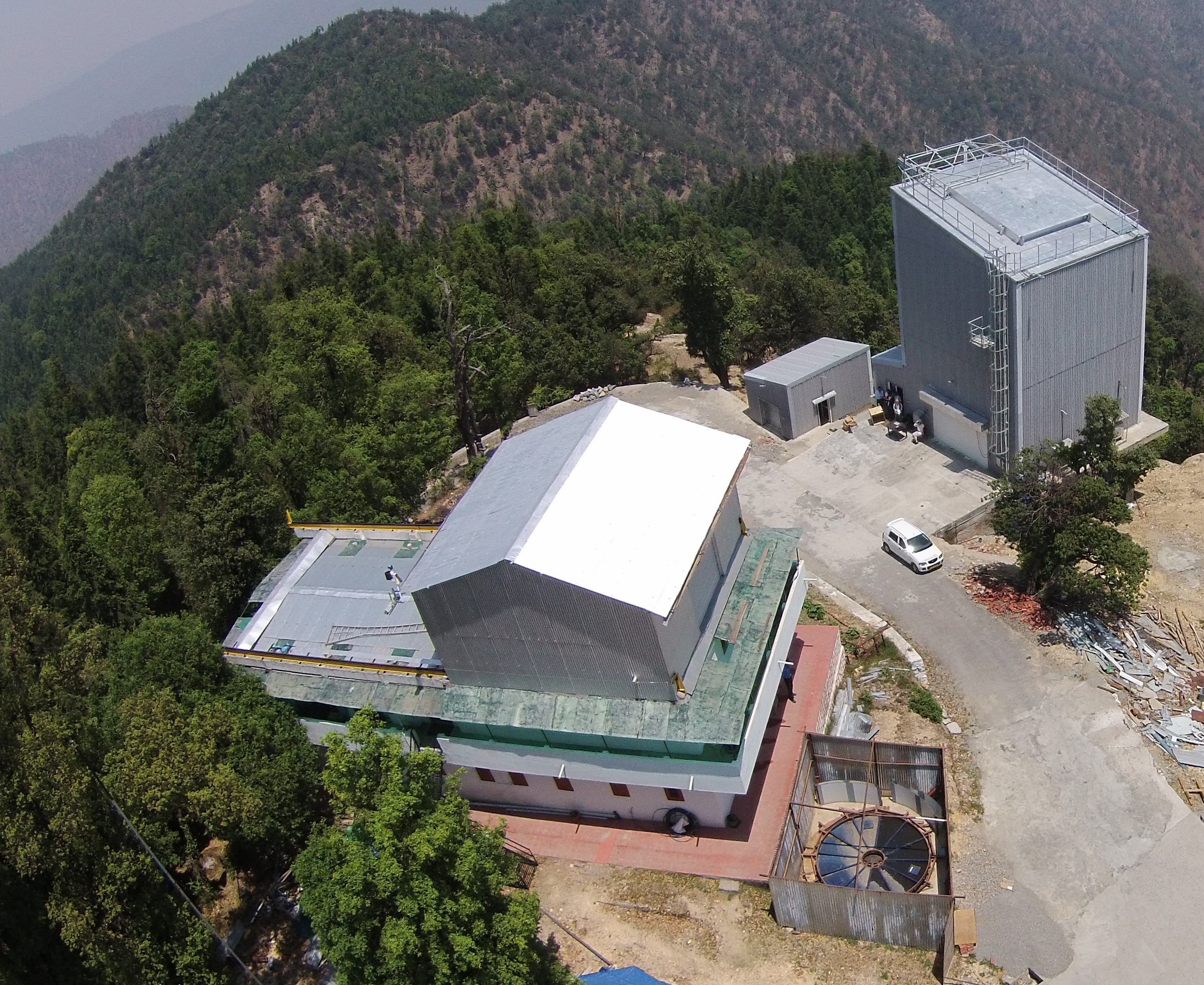 Aerial view of the ILMT (right) and 1.3m telescope (left) buildings