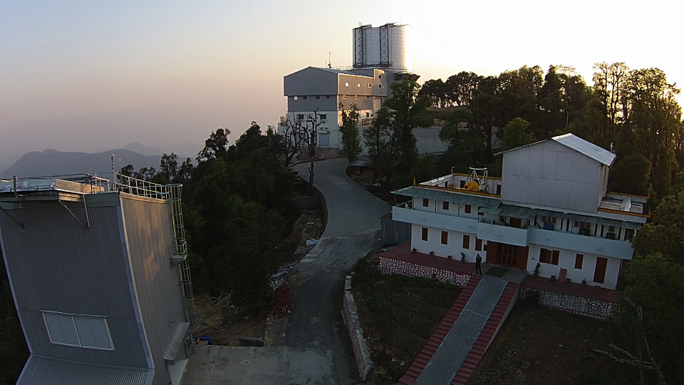 Aerial view of the three Devasthal telescope buildings